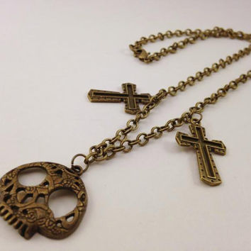 Chain Brass Skull Necklace - Gothic Jewelry - Horror Jewelry - Cross and Skull - Halloween Necklace - Brass Necklace - Cross Necklace
