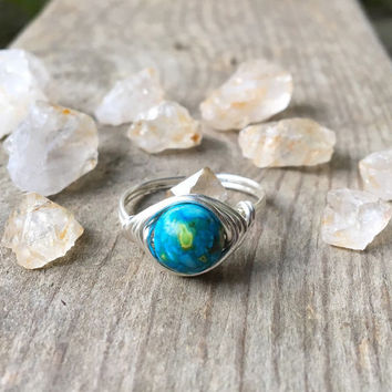 Ring, wire ring, wire wrapped ring, Imperial Jasper, Jasper stone ring, Jasper ring, gemstone ring, custom ring, bohemian ring,healing stone