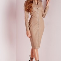 Missguided - Faux Leather Fitted Shirt Dress Stone