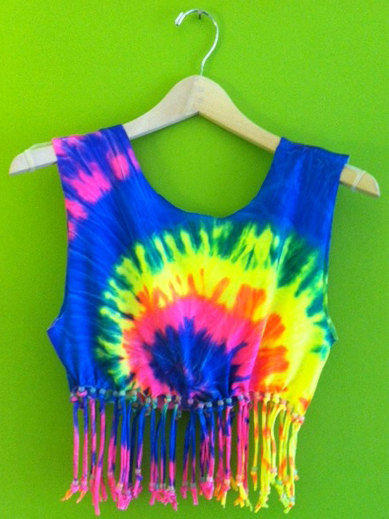 Tye Dye Grinder ~ Beaded tie dye crop top with from cosmicunicornz on etsy