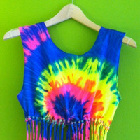 Beaded Tie-Dye Crop Top with Glow-in-the-Dark Beads