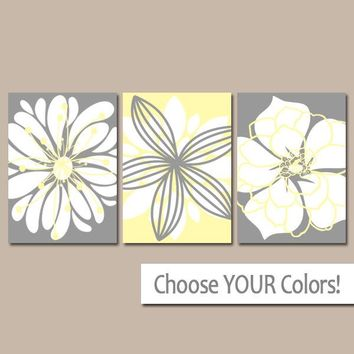 Yellow Gray Wall Art, Canvas or Prints, Flower Wall Art, Floral Bathroom Decor, Yellow Gray Nursery, Floral Bedroom Pictures, Set of 3