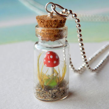 "FREE SHIPPING - Tiny mini mushroom in a miniature bottle necklace  - gnome mushroom necklace with 18"" 1.5mm silver ball chain"