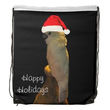 Custom Posing santa holiday Cockatoo bird Drawstring Bags