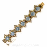 Victorian Guilloche Enamel, Diamond and Sapphire Bracelet - Victorian Jewelry - Shop for Jewelry