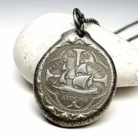 Atocha coin pendant silver, silver atocha coin necklace, silver shipwreck coin pendant, big mens coin pendant, unique gift for him