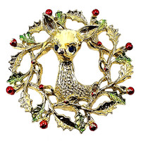 Christmas Reindeer Wreath Brooch Gerrys Vintage Pin Gold Tone Holiday p465