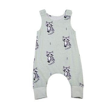 Pudcoco Cute Newborn Baby Boys Girls Racoon Romper Summer Sleeveless Clothes Jumpsuit Outfits Clothing