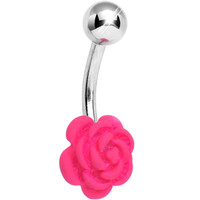 Pink Neon Solitary Blooming Rose Belly Ring | Body Candy Body Jewelry