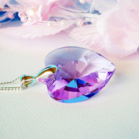 Swarovski Crystal Necklace Purple Heart Pendant with 24 Inch Silver Plated Chain