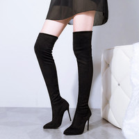 2016 New Sexy Pointed Toe Thigh High Boots Women High Heel Fashion Over Knee High Boots Gray Shoes Pumps Women Boots Size 34