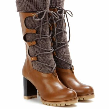 Leather and wool boots