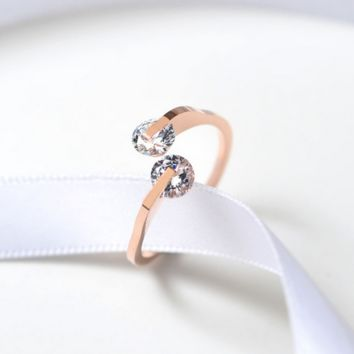 Rose Gold Colors Double Zirconia Crystals Rings for Woman Wedding Jewelry