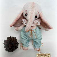 Sale! Free shipping worldwide Artist Teddy elephant Vintage elephant Plush toy Little elephant Jumbo Author toy Small jumbo Gift for her