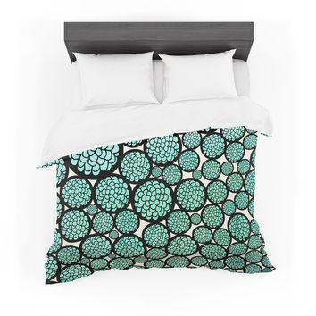 """Pom Graphic Design """"Blooming Trees"""" Turquoise Circles Featherweight Duvet Cover"""