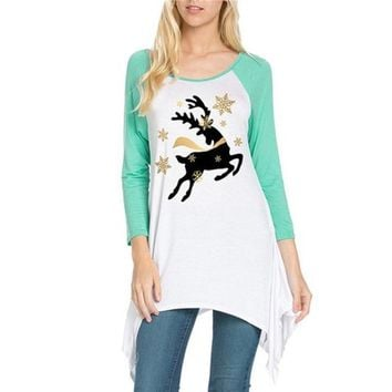 Women's Pretty Running Star Reindeer Baseball Style Tunic Top with Mint Raglan Sleeves