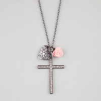 Full Tilt Rhinestone Cross/Heart/Flower Charm Necklace Hematite One Size For Women 22684718901