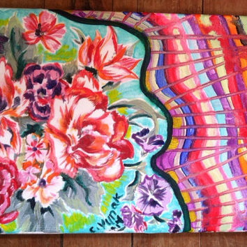 """11""""x14"""" signed abstract acrylic floral painting"""
