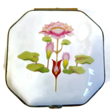 Limoges Trinket Box - Art Nouveau Lotus Water Lily Design - French Decor, Made in France, Gift Idea