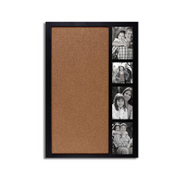"Adeco Decorative Black Wood Wall Hanging Collage Picture Photo Frame with Bulletin Board, 4 Openings, 4x4"", 4x6"""