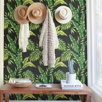 Monstera and Cyca Leaves Wallpaper | Removable Wallpaper | Wallpaper | Temporary Wallpaper | Wall Decals | Tropical Wallpaper | 177