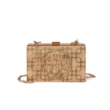 Brand design Women Wooden Shoulder Bag Evening Party Wood Box Clutch Bag Ladies Hard Case Day Clutches Handbag messenger bag