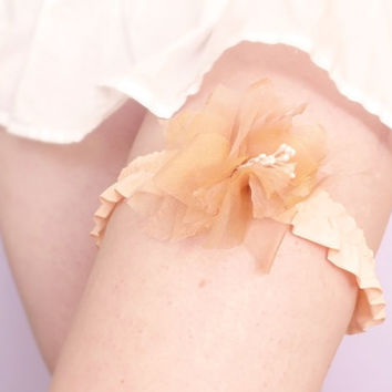 Romantic peach bridal flower garter
