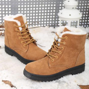 Winter snow boots thicker Martin boots warm boots with flat boots Khkai