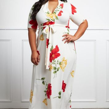 Too Deep In Love Plus Size Floral Maxi Dress Dresses+ GS-LOVE