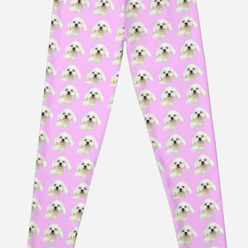 'Maltese puppy on pink' Leggings by Zina Stromberg