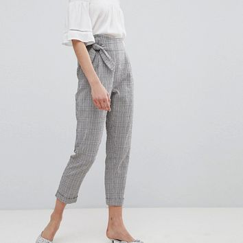 Mango Tie Front Cropped Check Trousers at asos.com