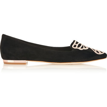 Sophia Webster - Bibi Butterfly embroidered suede point-toe flats