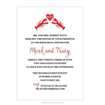 Wedding Shower or Party Invitations -  Lobster Love Invitation
