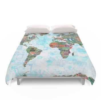 Society6 World Stamp Map Duvet Cover