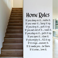"Characters ""Home Rules ""wall stickers home decor decals decoration Characters  NEW Removable Living Room PVC 57*81CM SM6"