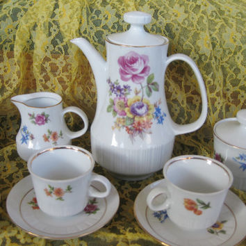 Rare German Floral 17 piece Teaset (teapot, creamer, sugar, & 6 demitasse cup/saucers) Like New