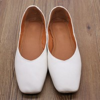 Handmade Leather Square Toe Flats Pumps Brown/White