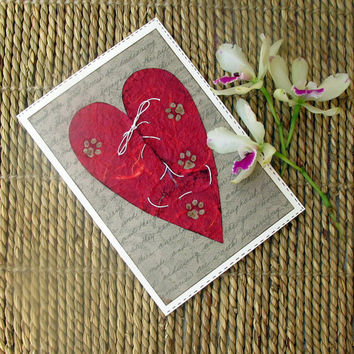 Pet sympathy card heart and paw prints collage large card with envelope