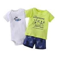 Infant Boys Island Dude 3 Piece Shorts Set