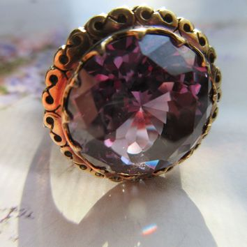 Vintage 1930s Lab Created Color Change Alexandrite 14K Ring