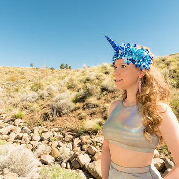 Blue Unicorn Flower Crown, Unicorn Headband, Flower Headband, Unicorn Crown, Unicorn Horn Headband, Unicorn Costume, Rave Costume, Rave Wear