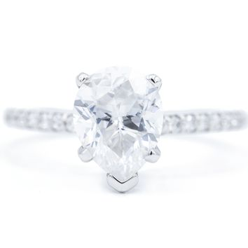 **NEW Pear Crushed Ice Moissanite 5 Prongs Diamond Accent Ice Solitaire Ring