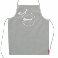 Grey Personalised apron with silver prints