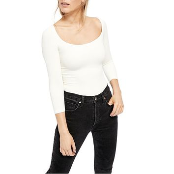 Free People - Square Neck 3/4 Sleeve Top in Ivory