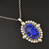 Sterling Silver Lapis Lazuli Pendant Statement Necklace
