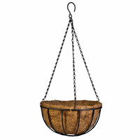 Hanging Planter Baskets. Round Iron Hanging Flower Basket with Chain and Hook. Natural Coconut Growing Medium. Instant Cottage Charm.