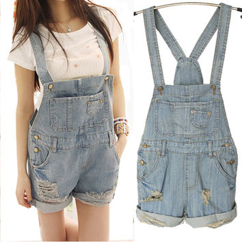 2016 New Fashion Women Girl Washed Jeans Denim Casual Hole Jumpsuit Romper Overall Shorts Women Clothing macacao feminino ZLY100