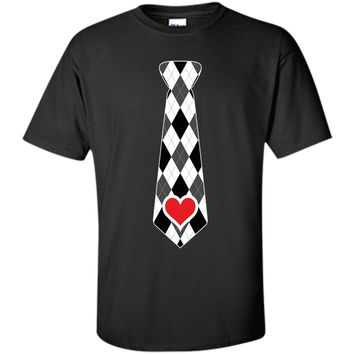 Valentines Day Heart Plaid Necktie T-Shirt For Kids & Adults