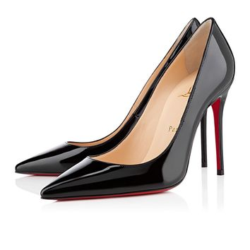 Christian Louboutin CL Decollete 554 Black Patent Leather 100mm Stiletto Heel Classic Best Deal Online