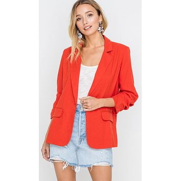 Resort Boss Ruched Sleeve Linen Blazer Red